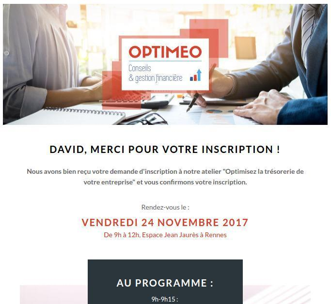 E-mail de confirmation d'inscription