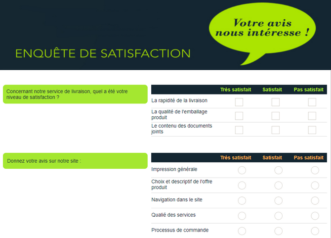 Exemple d'enquête de satisfaction